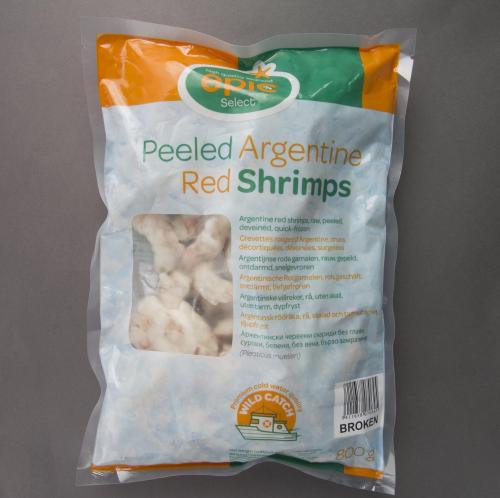 Broken Argentine Red Shrimps Raw Peeled 800g Unit Carton 12 Units